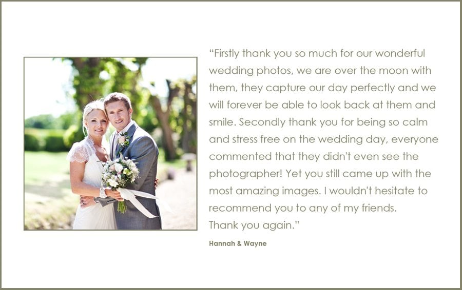 Wedding Photographer Client Comments