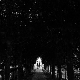 silhouette of bride and groom at rhinefiled house wedding