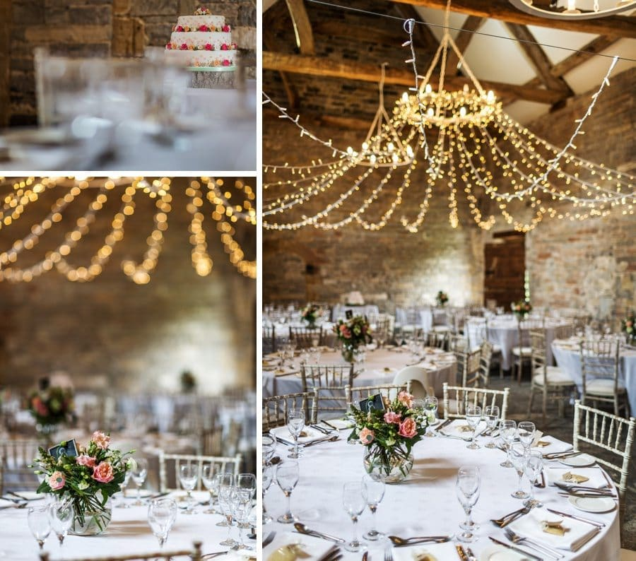 wedding table decorations at almonry barn wedding