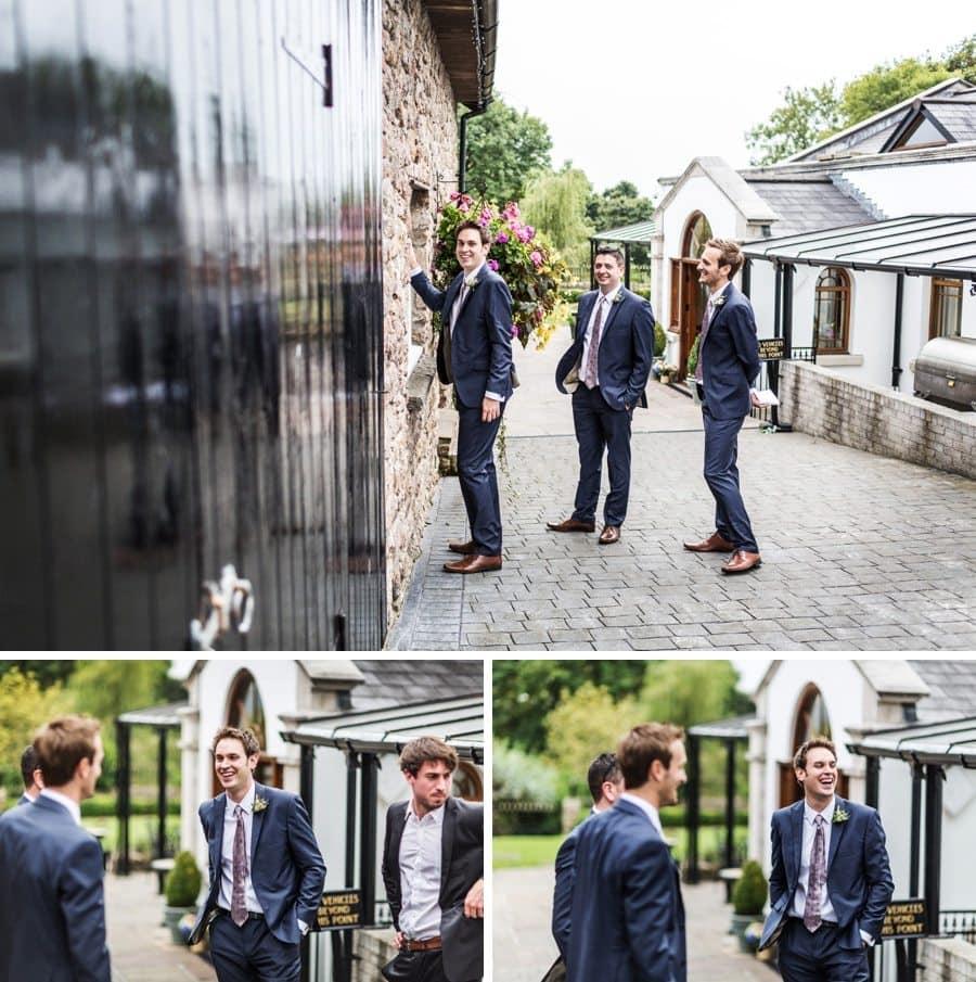 groom arriving at a King Arthur Hotel wedding
