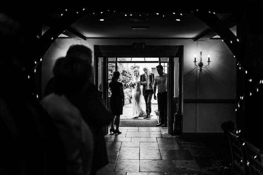 bride arriving at a King Arthur Hotel wedding