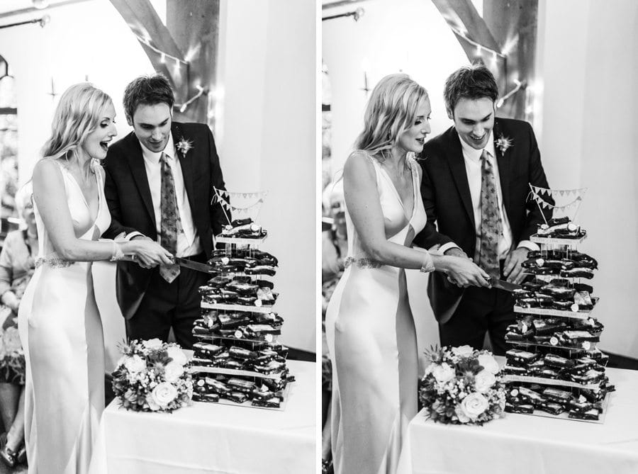 king arthur hotel cutting wedding cake