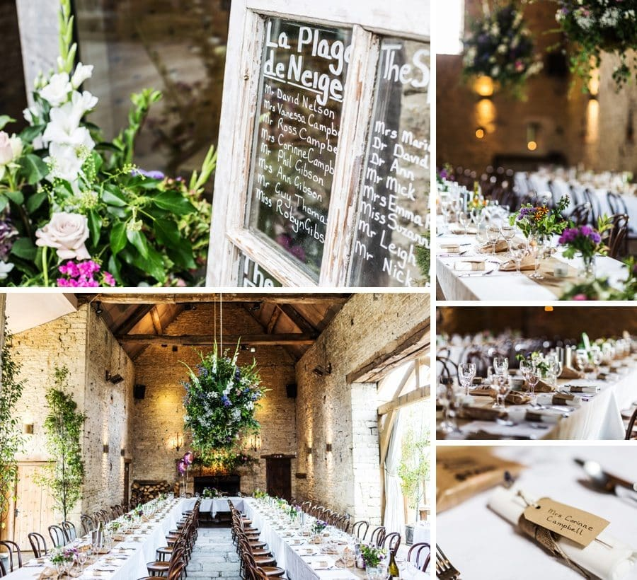 Table decorations at a Cripps Barn Wedding
