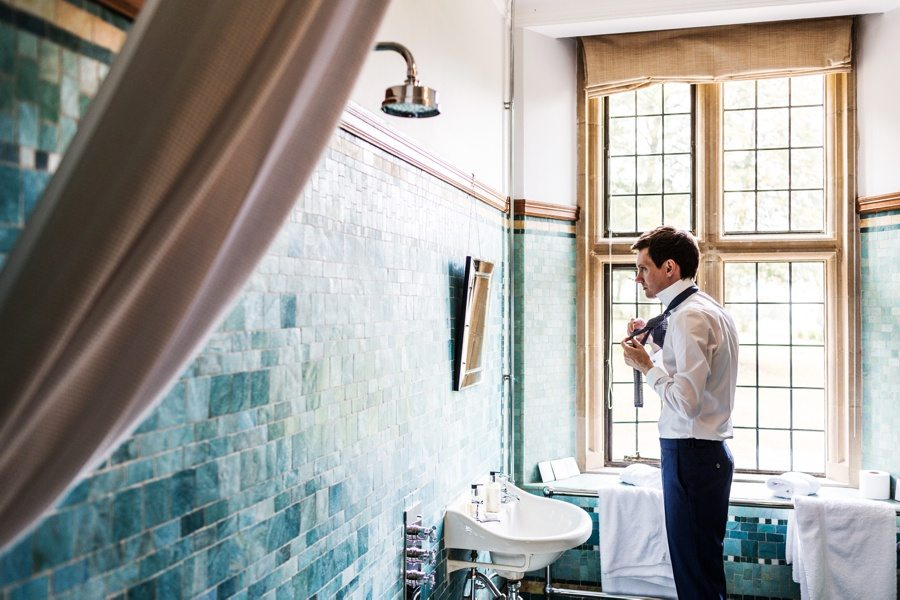 groom preparations at a coombe lodge wedding