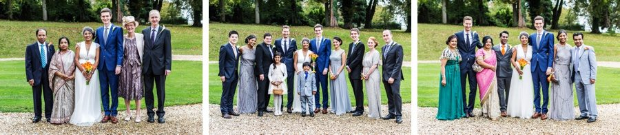 family groups at a coombe lodge wedding