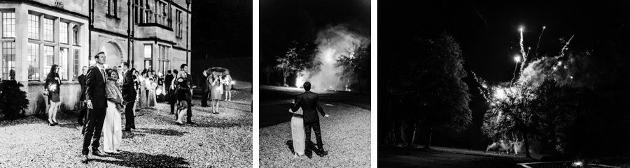 fireworks at a coombe lodge wedding