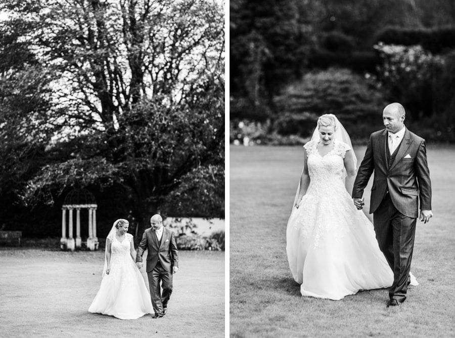 bride and groom in gardens at a wedding speeches at miskin manor wedding