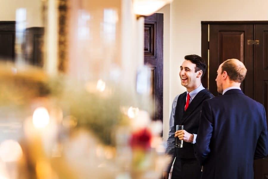 groom waiting at llansantffraed court hotel monmouthshire south wales