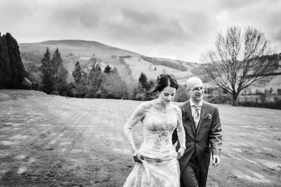 bride and groom at a Buckland Hall wedding