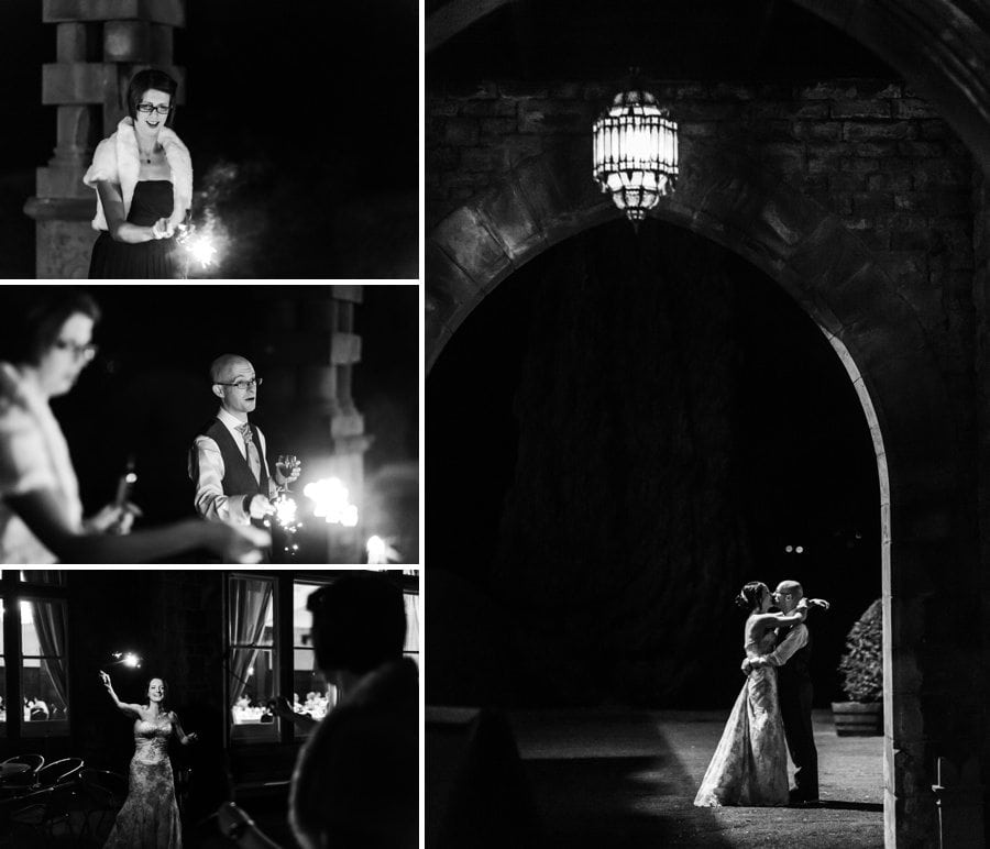 evening wedding reception at Buckland Hall
