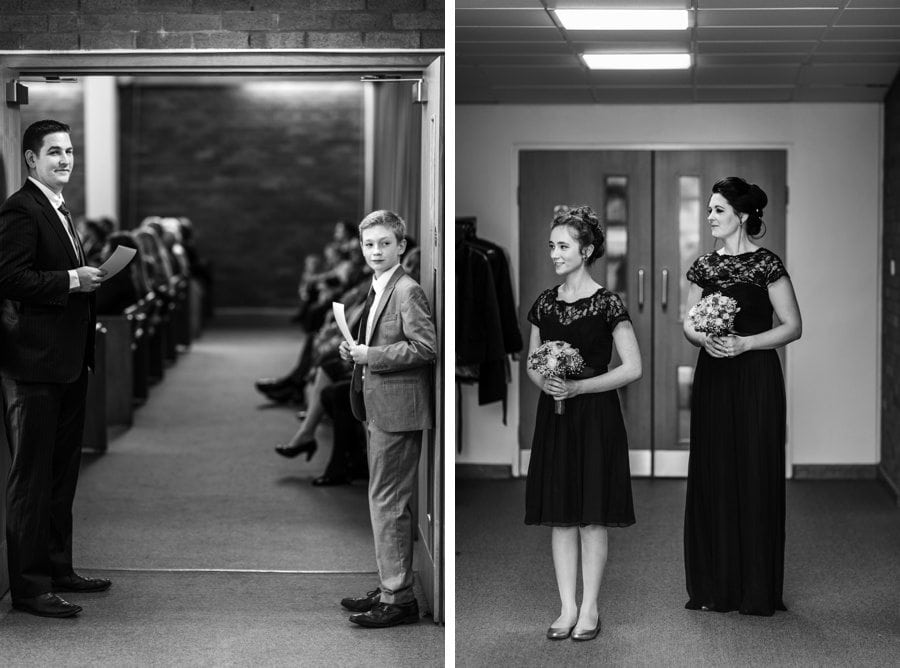 ushers and bridesmaids waiting at church wedding in cardiff