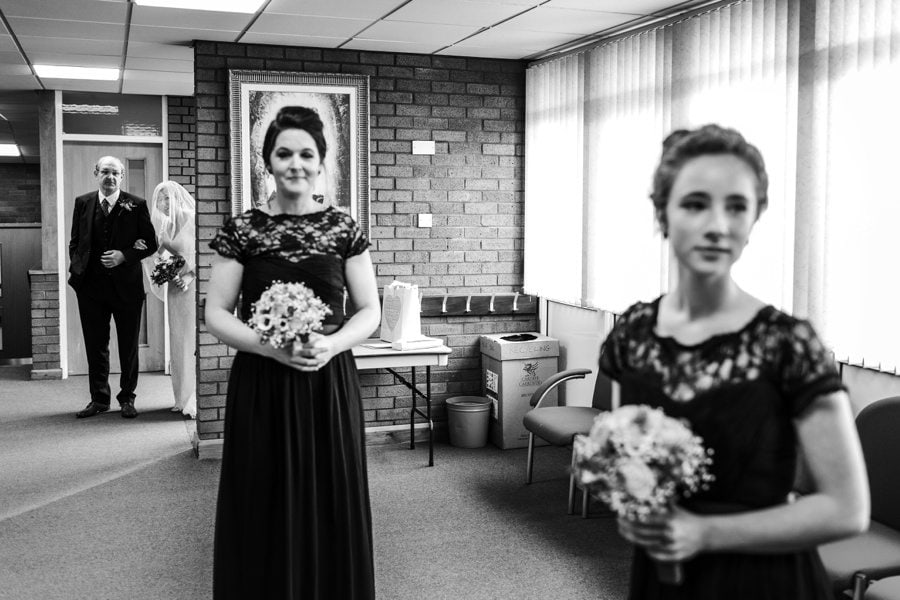 bride arriving at church wedding  in cardiff
