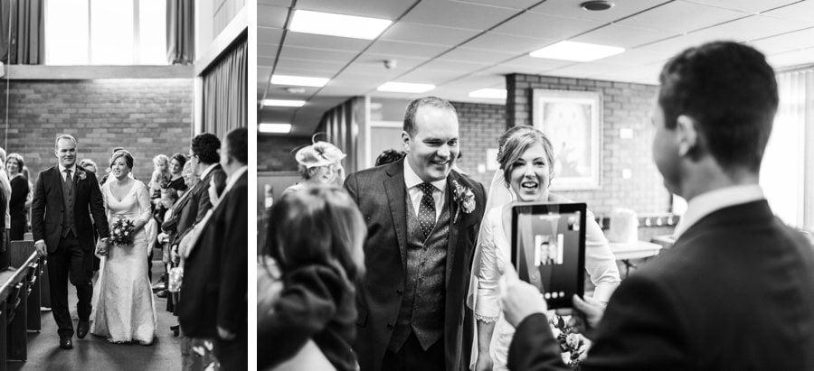 bride and groom leaving church wedding in cardiff