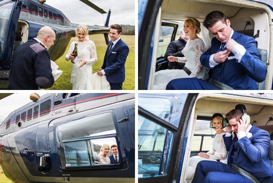 helicoopter pick up bride and groom at Llanerchaeron