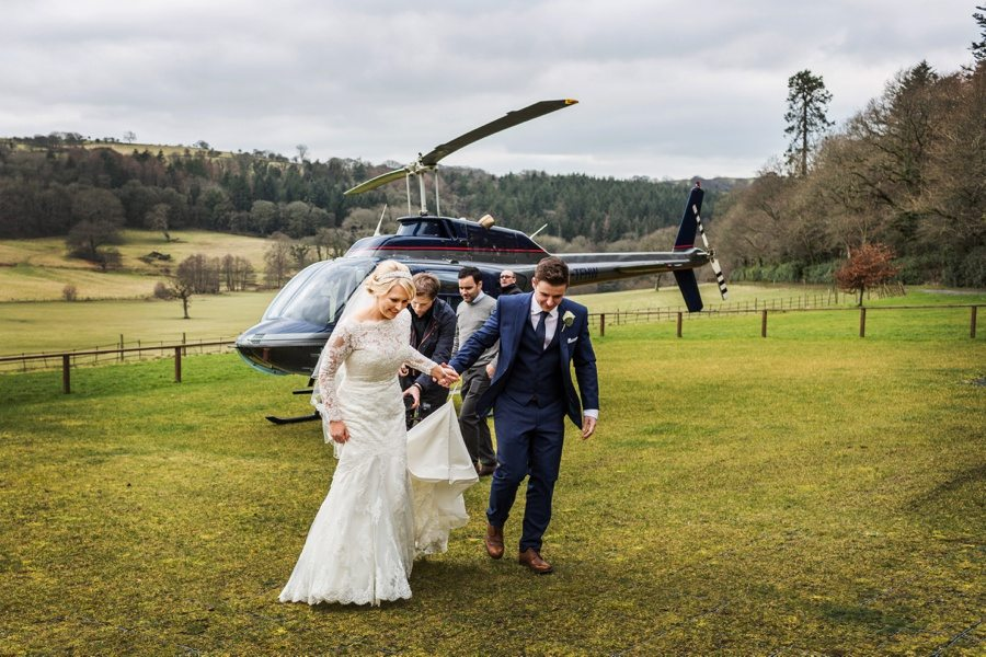 helicopter lands on wedding day at Nanteos