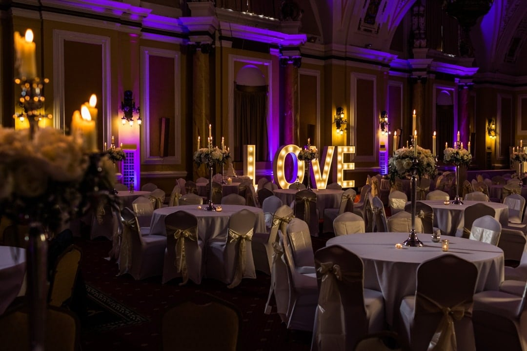 wedding light letters at cardiff city hall