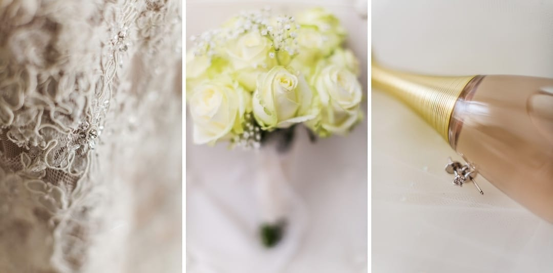 wedding dress and flowers  details
