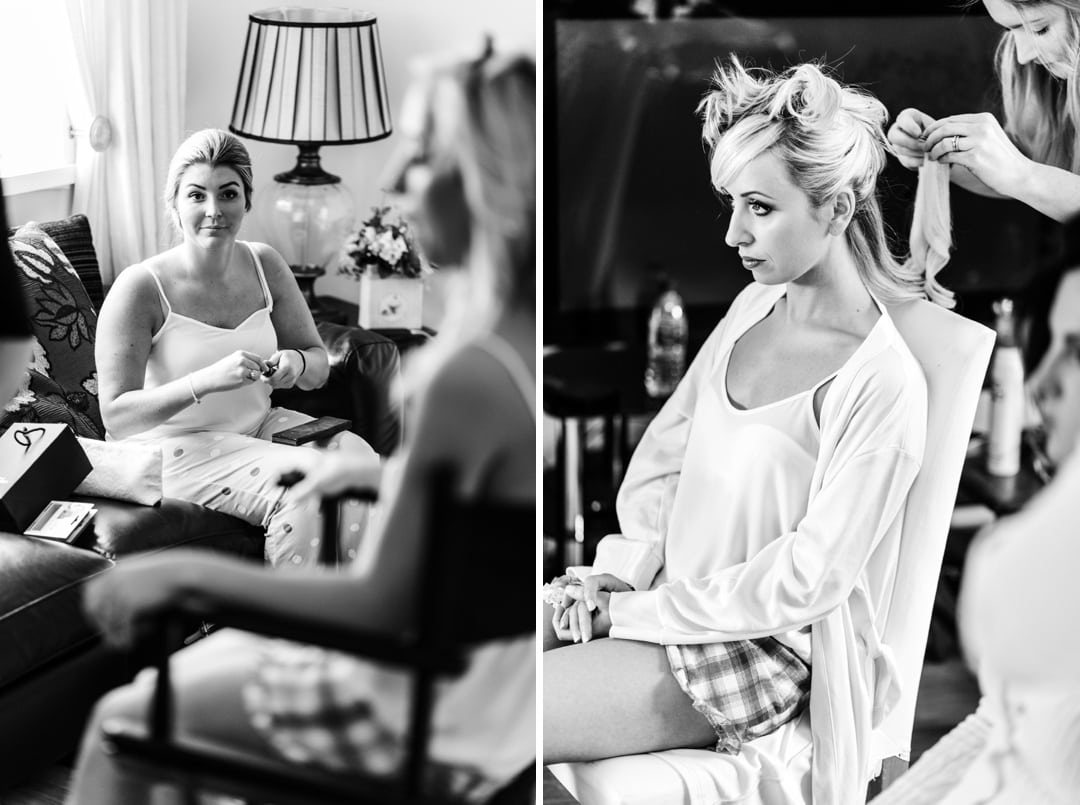 bride and bridemaids getting ready