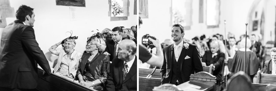 groom waiting at church ceremony