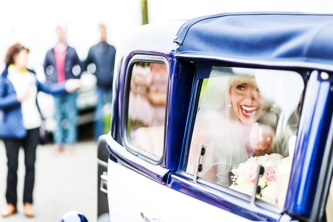 bride arriving at church ceremony