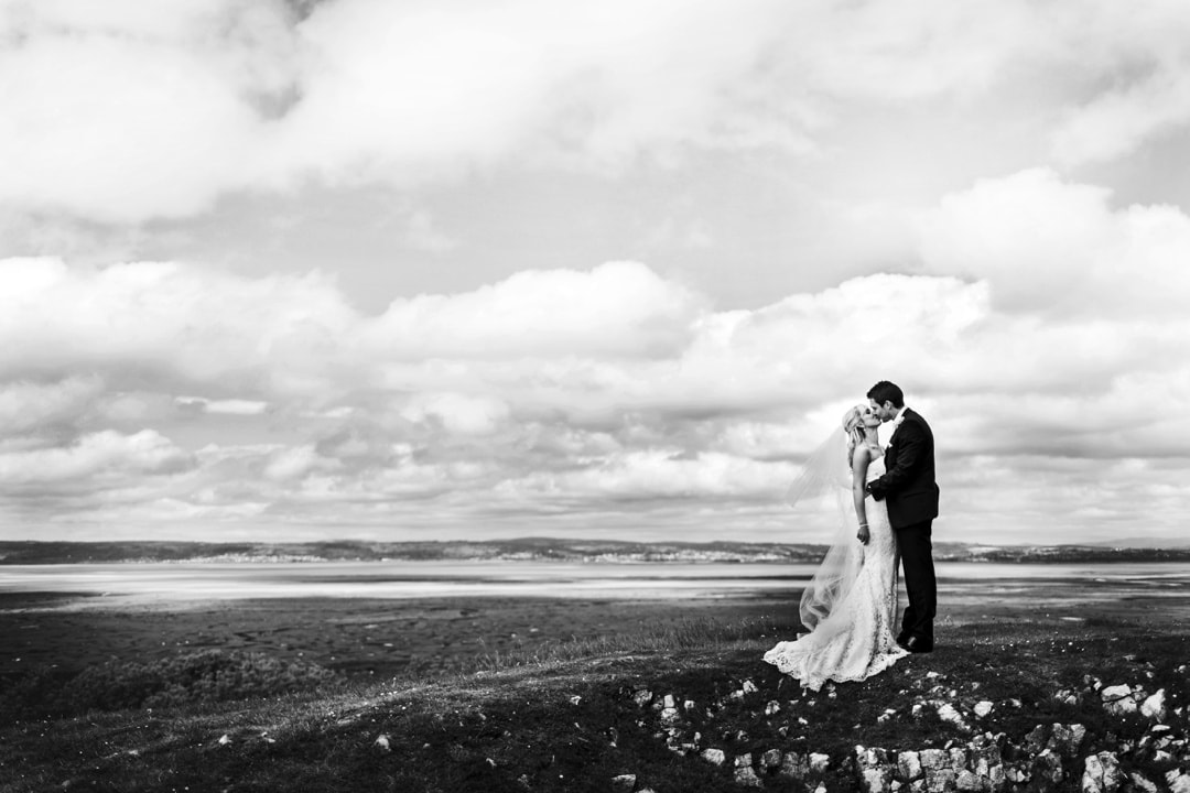 bride and groom at weobly castle
