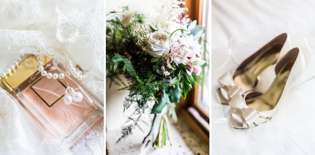 bride's shoes, flowers and jewellery