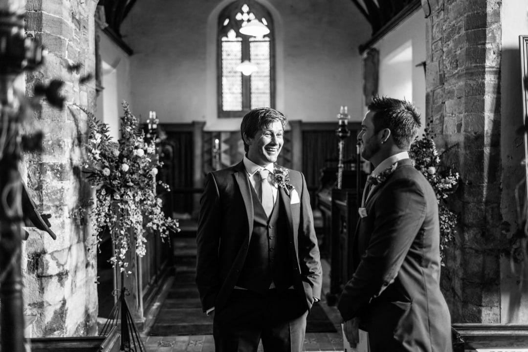 groom waiting at church at south wales wedding