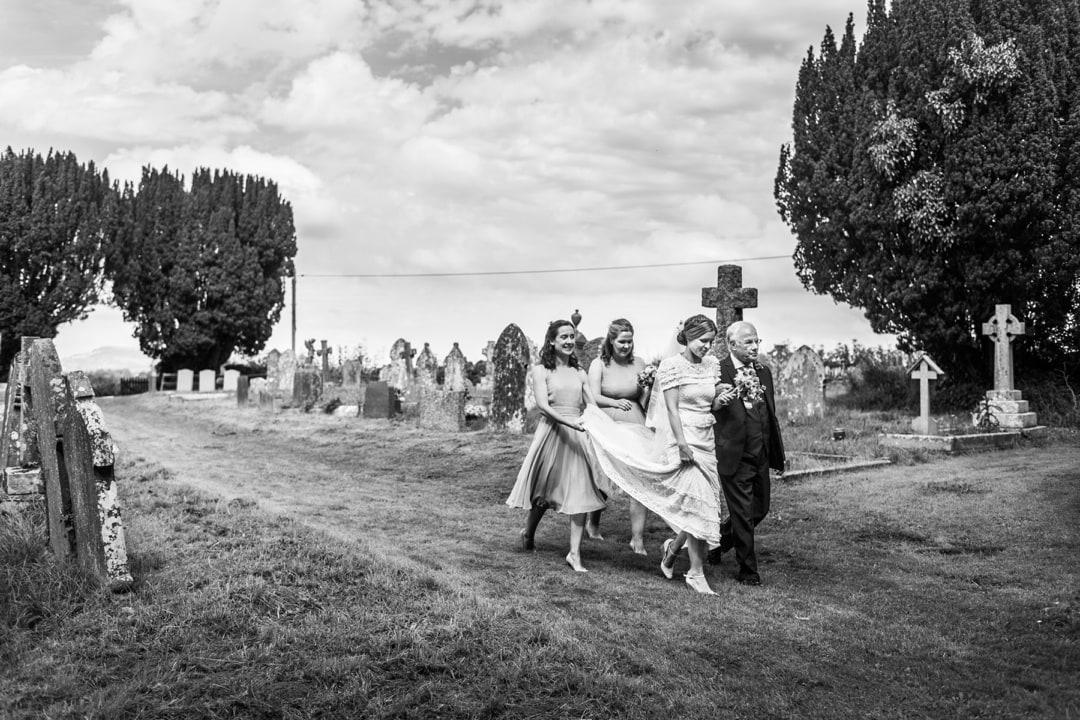 bride arriving at church at south wales wedding
