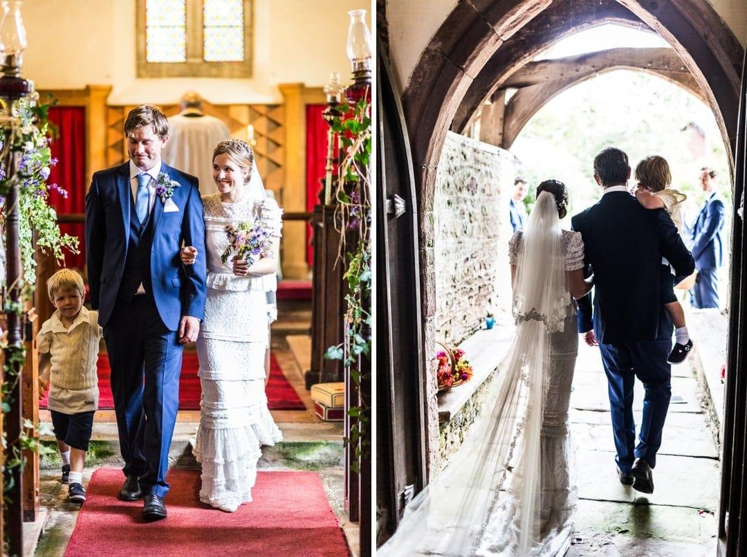 bride and groom walk down aisle church at south wales wedding