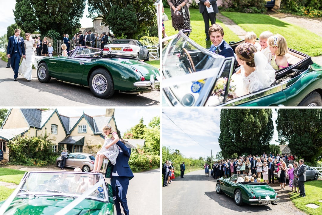 bride and groom in classic sports car church at south wales wedding