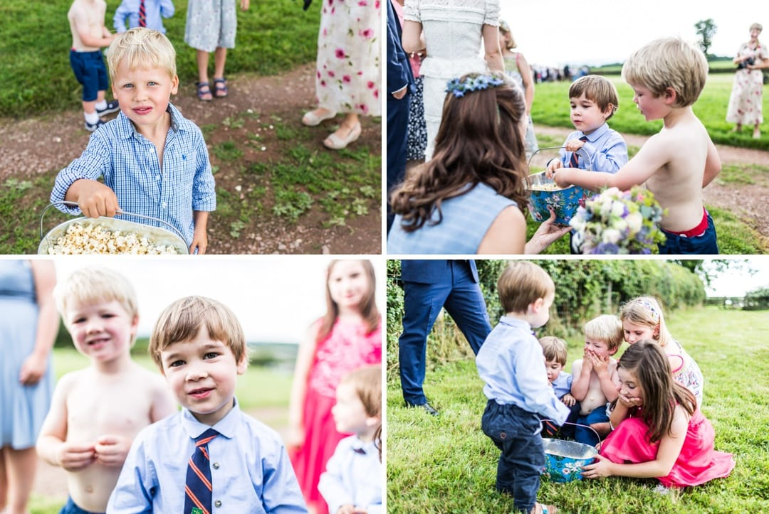 children playing church at south wales wedding