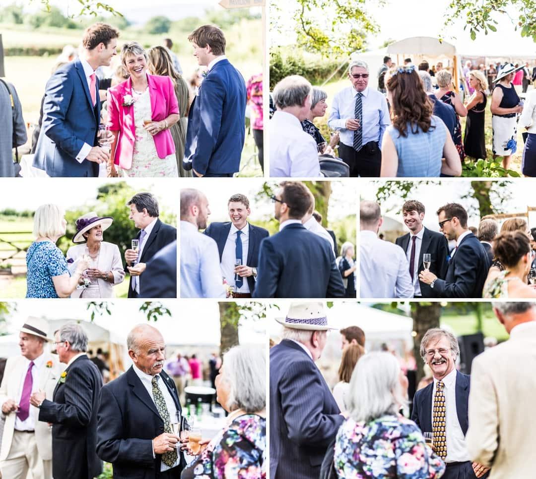 guests drinking church at south wales wedding