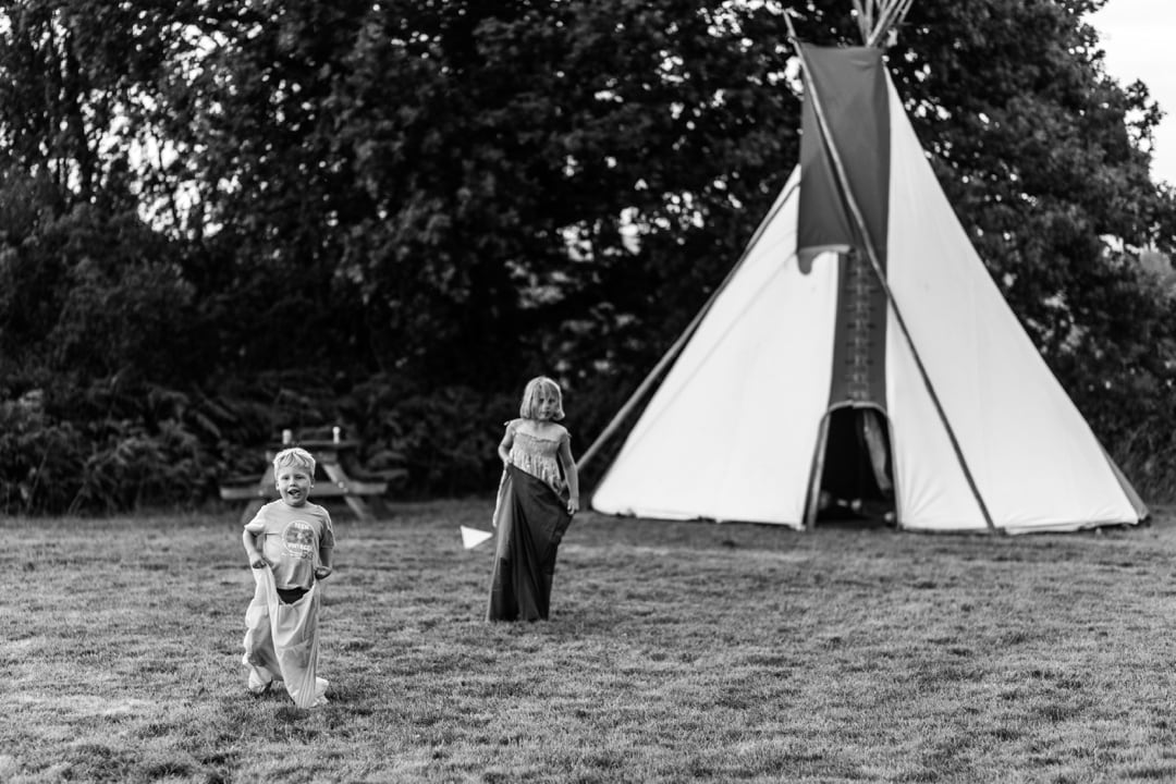 children playing at south wales wedding