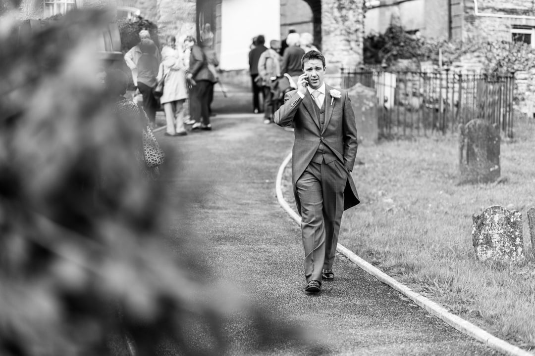 Groom arriving at Llandysul Parish Church Wedding