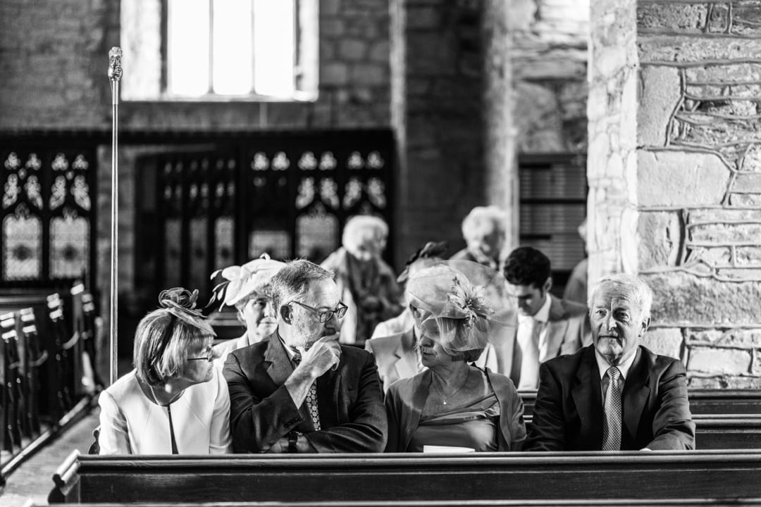 Guests at Groom laughing at Llandysul Parish Church Wedding
