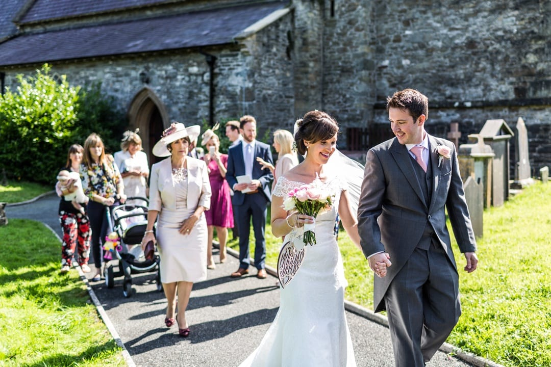 Bride and groom married at Pembrokshire Church