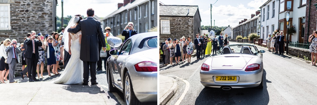 Bride and groom leaving in Porsche