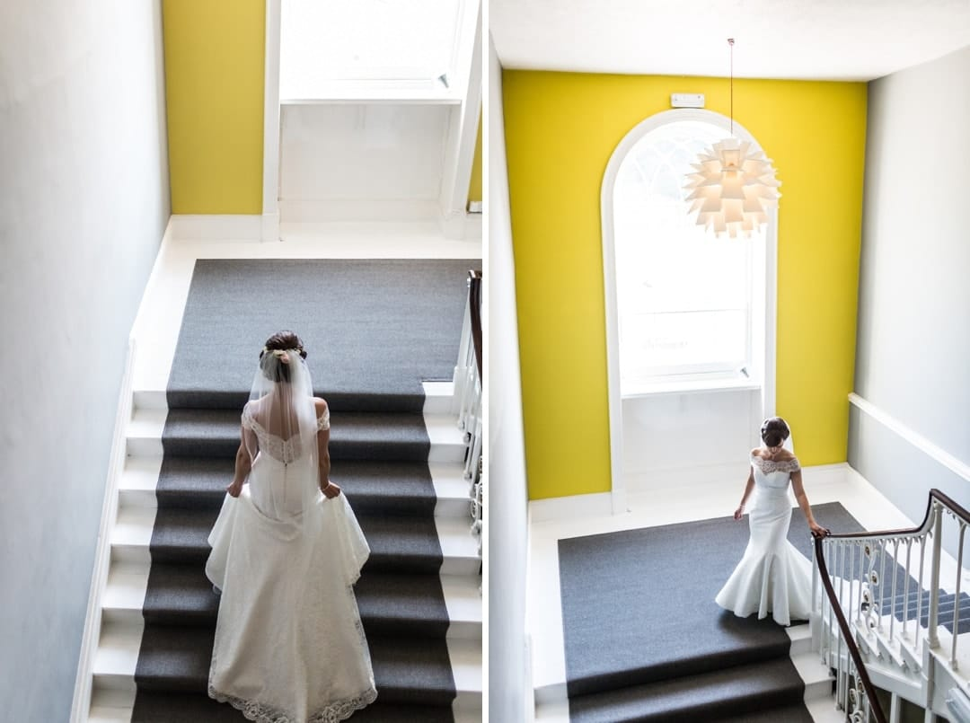 Bride on staircase at Hammet House