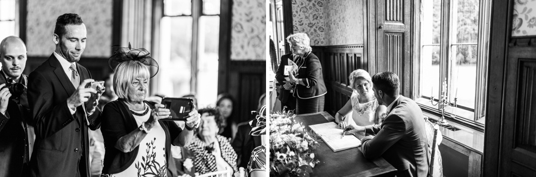 siging register at hensol castle wedding