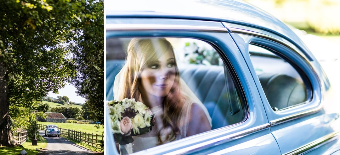 bride arriving in car
