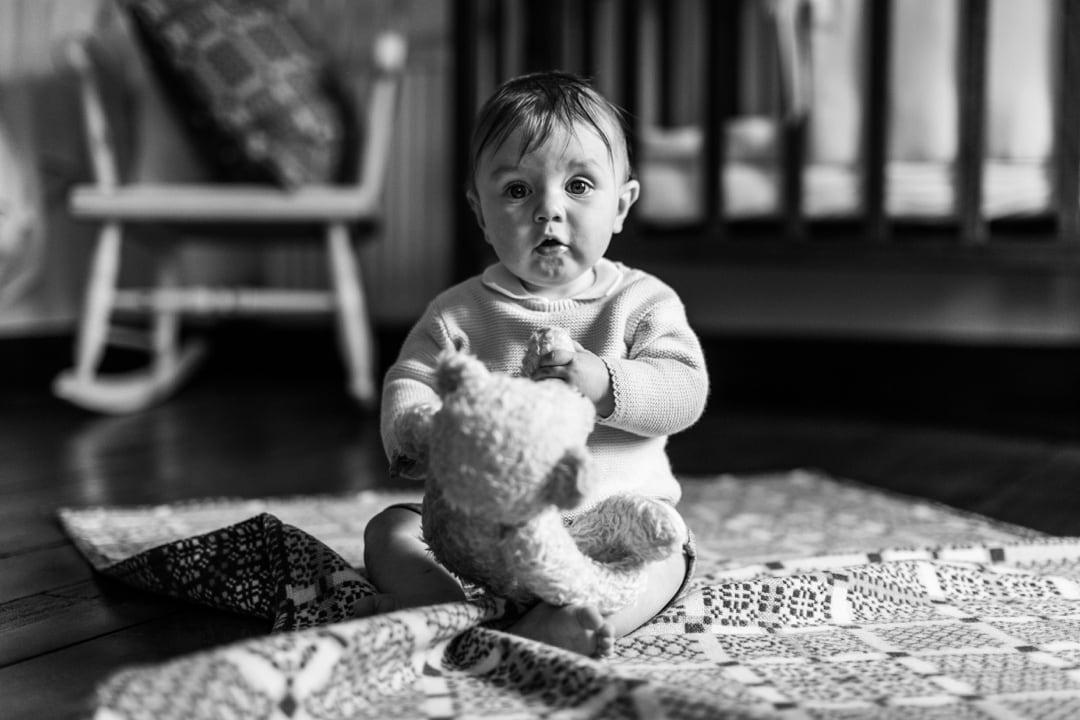 baby portrait with teddy bear
