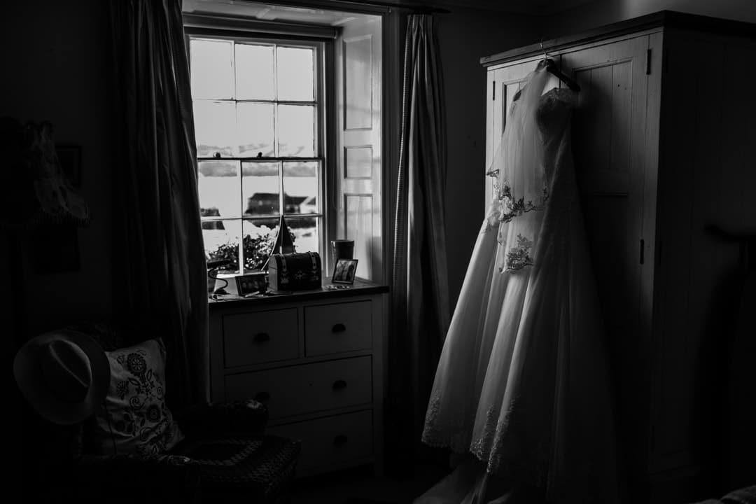 Wedding dress in cottage