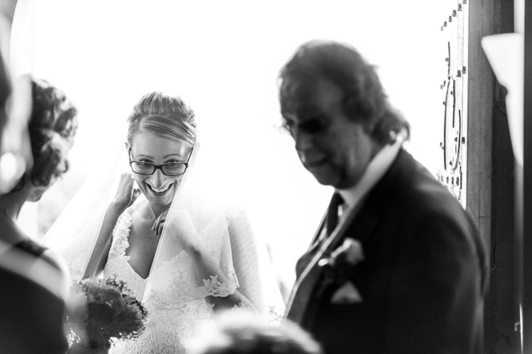 bride in doorway, backlit