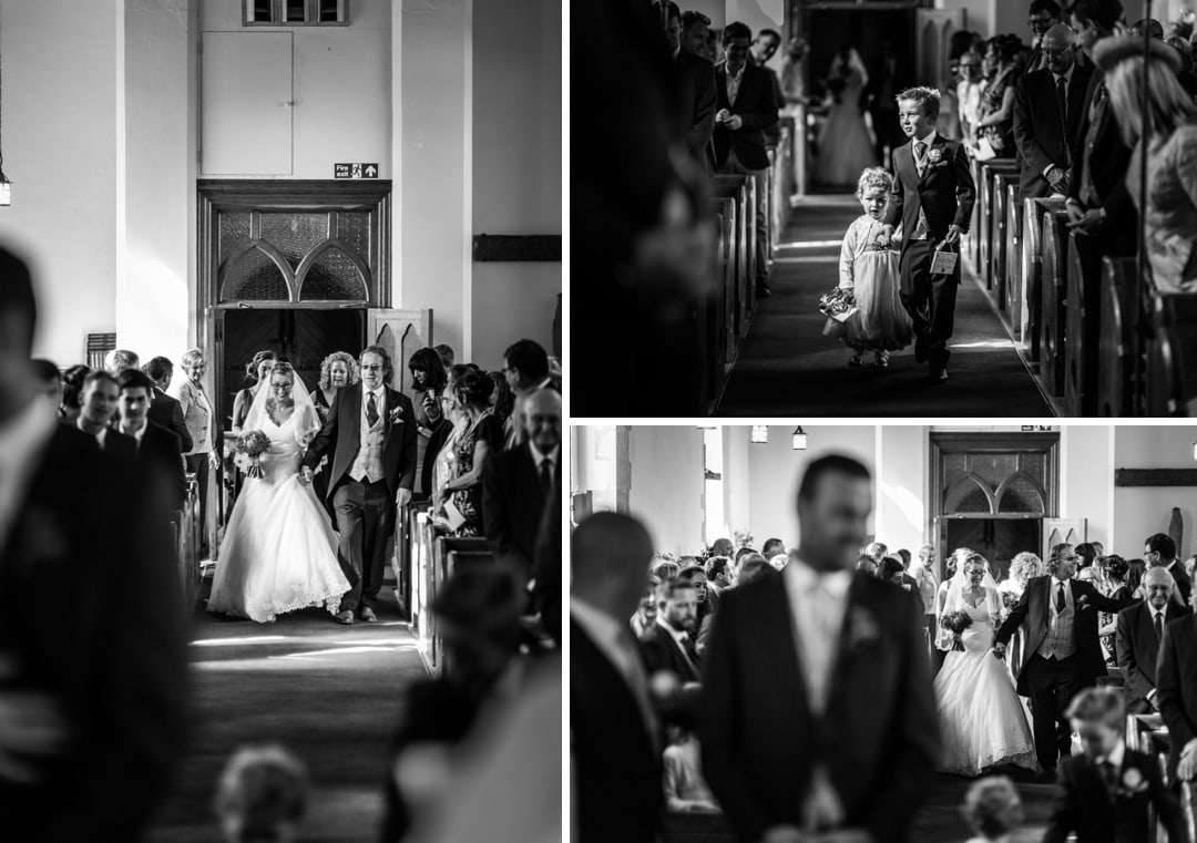 bride and father walking up aisle