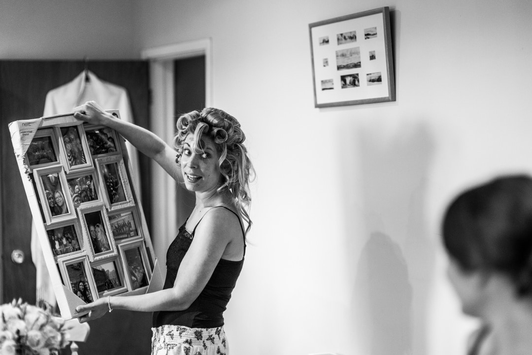 bride getting ready for wedding day in Pembrokeshire