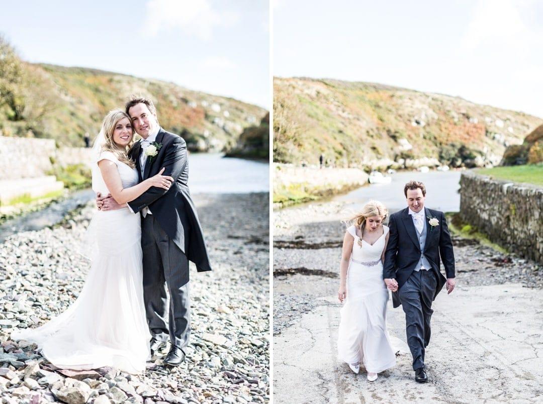 wedding couple at St David's harbour, Pembrokeshire