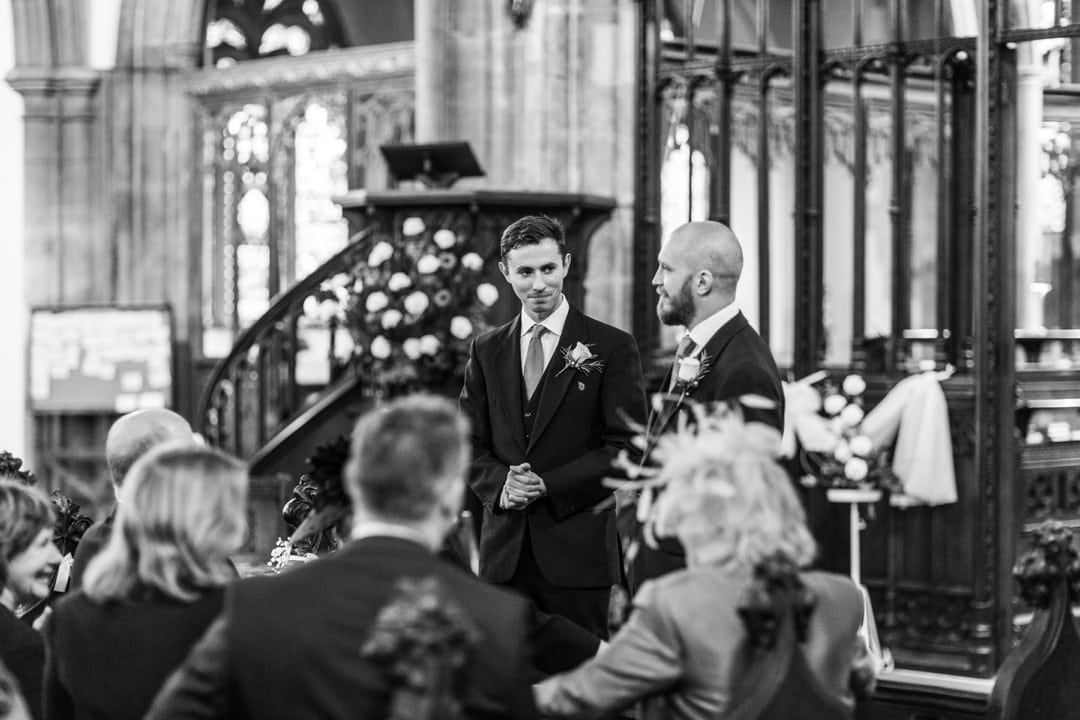 groom waiting at st john's church, cardiff