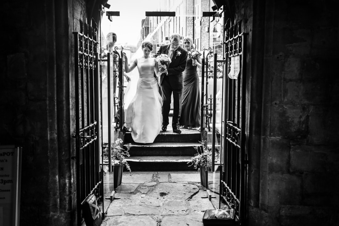 bride arrives at st john's church, cardiff