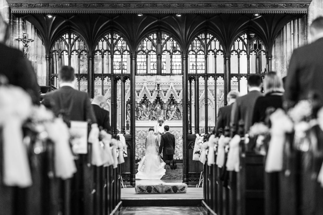 wedding ceremony at st john's church, cardiff
