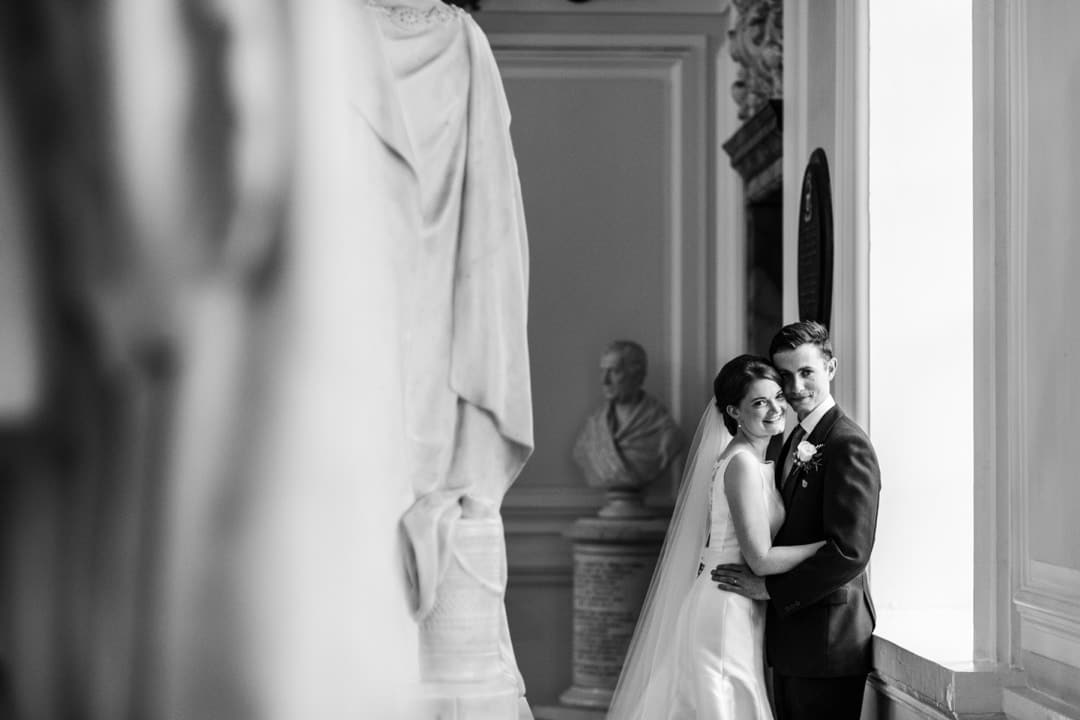 bride and groom at cardiff city hall wedding